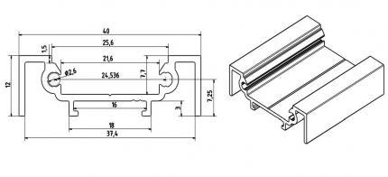 LED Profil für LED-Tape Aluminium mit Kunststoffabdeckung zum Anbau silber 2m WELOOM®