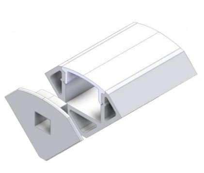 LED profile for LED tape aluminum with plastic cover for corner mounting silver 2m WELOOM