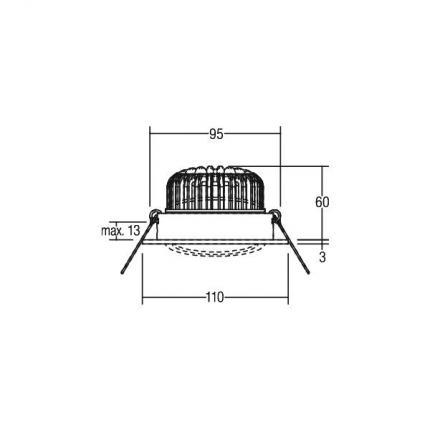 Brumberg LED-Einbaustrahler 12W 230V rund nickel