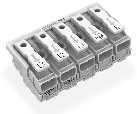 WAGO 5P-Leuchtenanschlussklemme ohne PE-Kontakt L3-L2-L1-PE-N 2,5 mm²