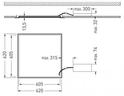 Trilux LED-Panel Siella G5 M84 OTA22 LED3400-830 schaltbar 33W 3000K